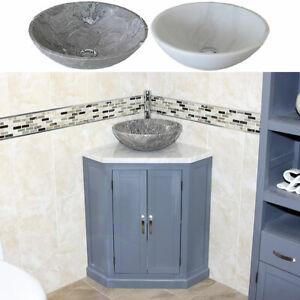 Grey Bathroom Vanity Unit Free Standing Corner Cabinet White Marble Basin