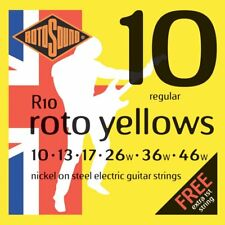 Set of Rotosound R10 Yellow Electric Guitar Strings (10-46)