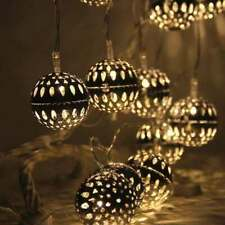 20 LED Silver String Lights Christmas Round Ball Blubs Wedding Party Lamp