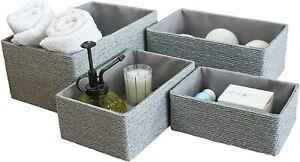 La Jolíe Muse Woven Storage Baskets Paper Storage Bin Makeup (Grey, Set of 4)