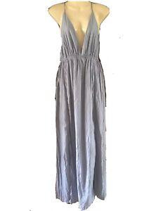 White Closet • NWT Maxi Dress Full Length Side Split Silver/Lilac • Ladies Sz10