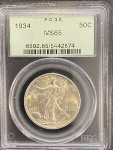 1934 WALKING LIBERTY SILVER HALF DOLLAR US COIN PCGS MS65 OGH