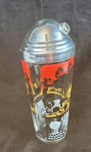 Vintage Cocktail Shaker Red Black Yellow White Recipes Glass Bar Mixer No Cap