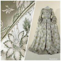 SALE Designer Brocade Satin Fabric- Antique Green & Beige Floral - Damask