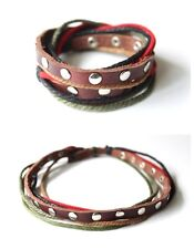 NEW Leather Hemp 2-in-1 Choker Necklace Bracelet Wristband Wrap Cuff Surfer 15""