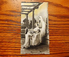 ANTIQUE DIE CUT SEPIA & GOLD HOLY CARD GIRL GIVE FLOWERS TO BABY JESUS ON MARY