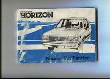 SIMCA  CHRYSLER  TALBOT  HORIZON     notice d'entretien   octobre 1978