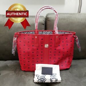 NEW Authentic MCM Large Reversible Liz Shopper tote bag Candy Red