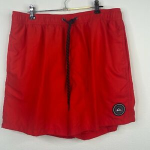 """Quicksilver Volley Shorts Mens NEW Red Volley Swim Trunks 5.5"""" Inseam"""