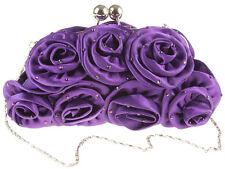 Ladies Purple Satin Clutch Bag Evening Party Prom Bridal Races Diamante