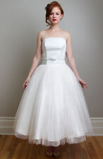 FANCY BRIDAL WEDDING GOWN DRESS 6 EMILY WHITE POLKA DOTS VINTAGE INSPIRED TEA