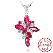 Ruby Necklace 925 Solid Sterling Silver  Necklace & 6.2 Ct Created Ruby Pendant
