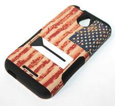 For HTC Desire 510 512 HARD&SOFT RUBBER HYBRID SKIN STAND CASE U.S AMERICAN FLAG