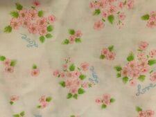 3 yds Vintage Pink Rose Floral Love Fabric on White Valentines Cotton Novelty
