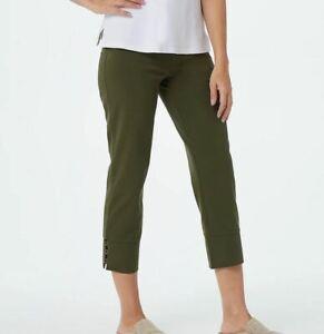size Large Susan Graver Weekend Regular Premium Stretch Crop Pants w/ Trim pesto