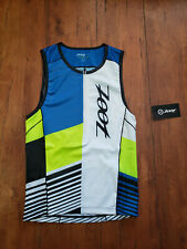 ZOOT Mens M LTD Tri Tank Triathlon Top Compression Shirt Blue Yellow White Shirt