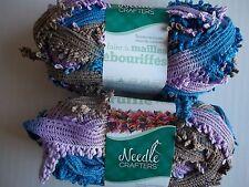 Needle Crafters Wide Mesh Ruffle Fringe yarn, Royalty, lot of 2 (1.75 oz ea)