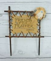 Enesco Friends Of The Feather Faux Leather Sign On Wooden Base Vintage