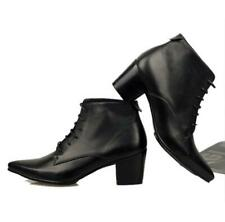 British Mens Black Real Leather Ankle Boots Shoes Snakeskin Cuban Heel Stage L