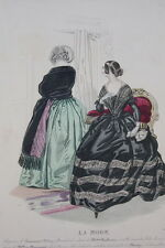 GRAVURE COULEURS LA MODE 1841-OLD FASHION PRINT XIXe SIECLE COSTUME MD95