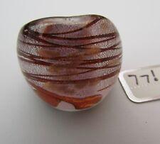 Style Glass Ring. Uk-Q/R. Us-8.5. (77!) A Silver & Copper Over Purple Murano