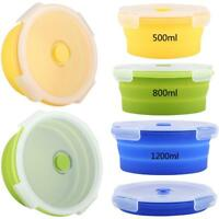 500 /800 /1200ml Silicone Collapsible Food Storage Container Folding Lunch Box