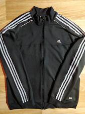 Adidas Mens Sweatshirt Tracksuit Top Jacket Climacool Black Gray Stripes