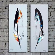 CHOP90 beautiful Colorful feathers 100% hand-painted oil painting art canvas