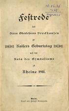 Ober profesores Brockhausen, firmemente discurso emperador cumpleaños, Paraninfo Gymnasium Rheine 1911
