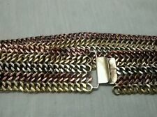 copper brass woven wide belt Rare vtg. Taxco Mexico sterling