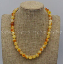 Natural 8mm Yellow Multi-Color Chalcedony Round Beads Gemstone Necklace 14-36''