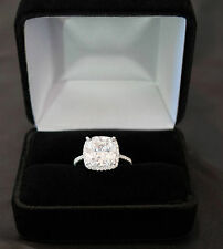 3Ct Cushion-Cut Diamond Halo Bridal Engagement Ring 14k White Gold Over