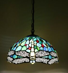 Enjoy Tiffany Style Dragonfly Green Blue Stained Glass Vintage Pendant Lighting