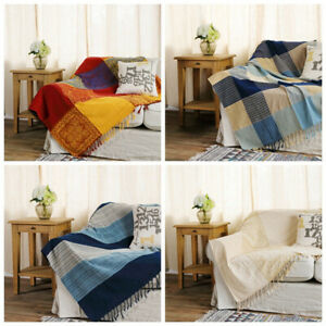 Universal Sofa Bed Throw Tassel Blanket Bedspread Floral Settee Chair Soft Cover
