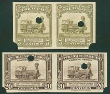 Paraguay 1944-5 Locomotive imperf proof pairs
