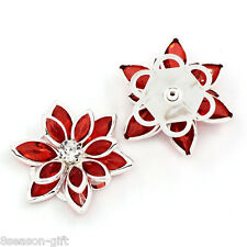 50PCs Lotus Embellishment Findings Rhinestone Flatback Red 23mmx24mm