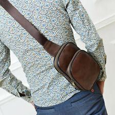 Men's Leather Chest Sling Bag Multipurpose Crossbody Bag Travel Hiking Daypack