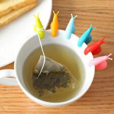 6PCS Mini Cute Silicone Snail Shape Tea Bag Holder Cartoon Cup Mug Clip