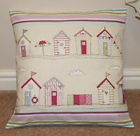 """BEACH HUTS"" CUSHION COVER PINK & CREAM 16 X 16"" 100% COTTON"
