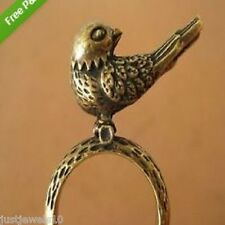 Bronce Anillo Chicas Damas 17mm 7 nos Pájaro Vintage Clásico Estilo Cumpleaños inusual