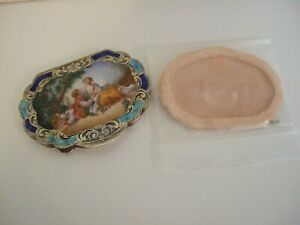 Antique Italian Scenic Enamel 800 Silver Compact with Powder Filter