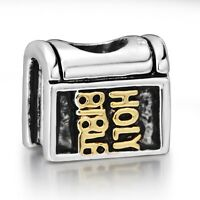 Antique Bible 925 Silver Book Style Charms Bead Fit European Sterling Bracelet