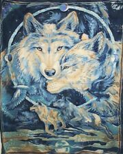 Home Decor' Fleece Wall Hanging /Blanket panel Wolfe Wolves Blue New