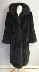 VINTAGE Size 16 Faux Fur Brown 60s Winter Coat Retro Oversized Cosy Warm Autumn