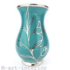 Art Déco Porzellan Vase Silveroverlay 1000 Feinsilber Friedrich Deusch um 1930