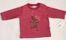 NWT Le Top Baby Boys Girls Velour Shirt Holiday Christmas Reindeer Stripe Sz 12M