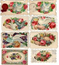 Lot 8 Vintage Calling Cards Hands Doves Flowers