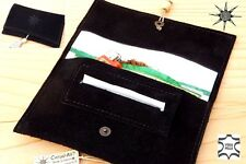 Rolling Tobacco Pouch Leather porta tabacco pelle made in Italy! Suede black