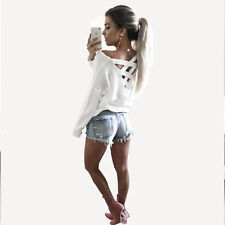 Womens Lace Up Back Cross T-Shirts Tops Long Sleeve Casual Loose Blouse Shirts