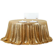 Gold Glitter Sequin Tablecloth Wedding X-mas Party Decor Table Topper Round 47''